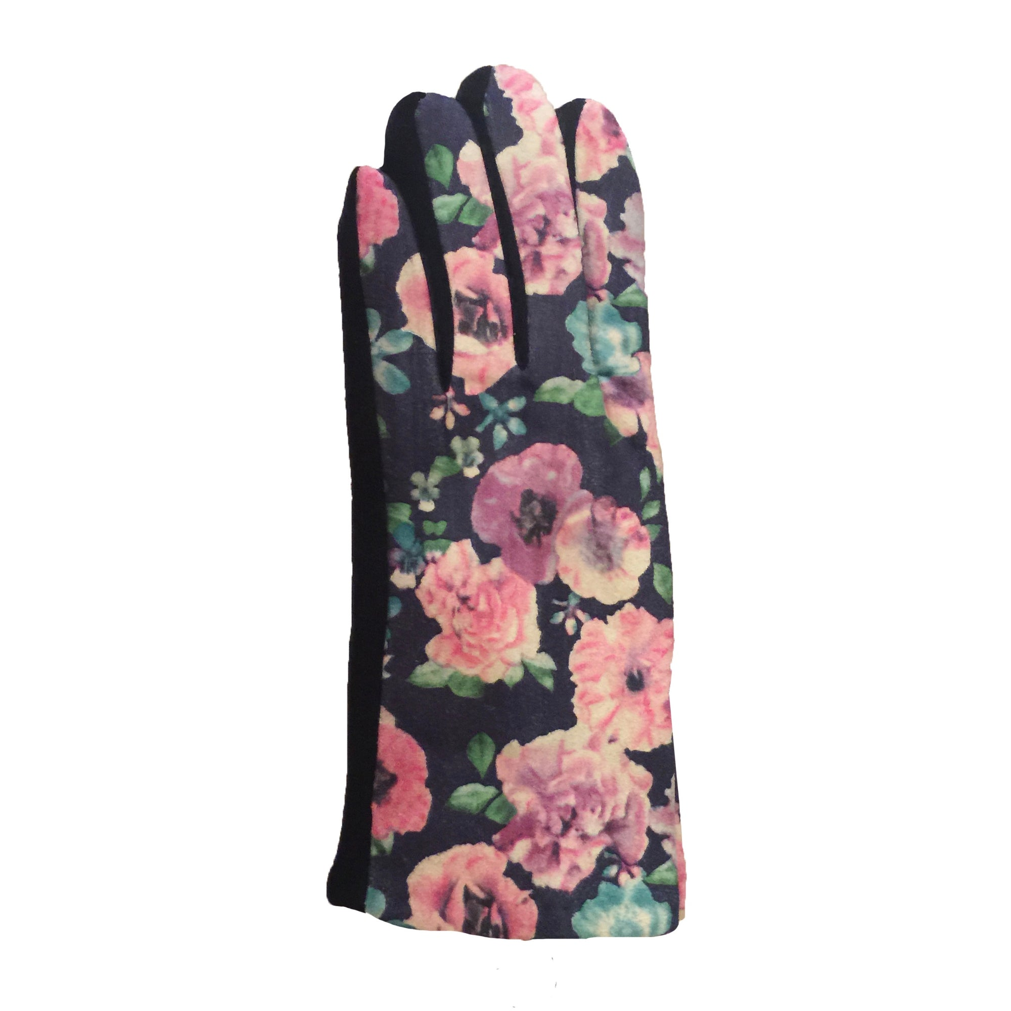 Pink Floral Ultra Suede Gloves