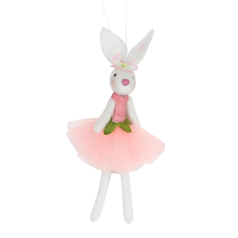 Ballerina Bunny Felted Wool Ornament - Peach