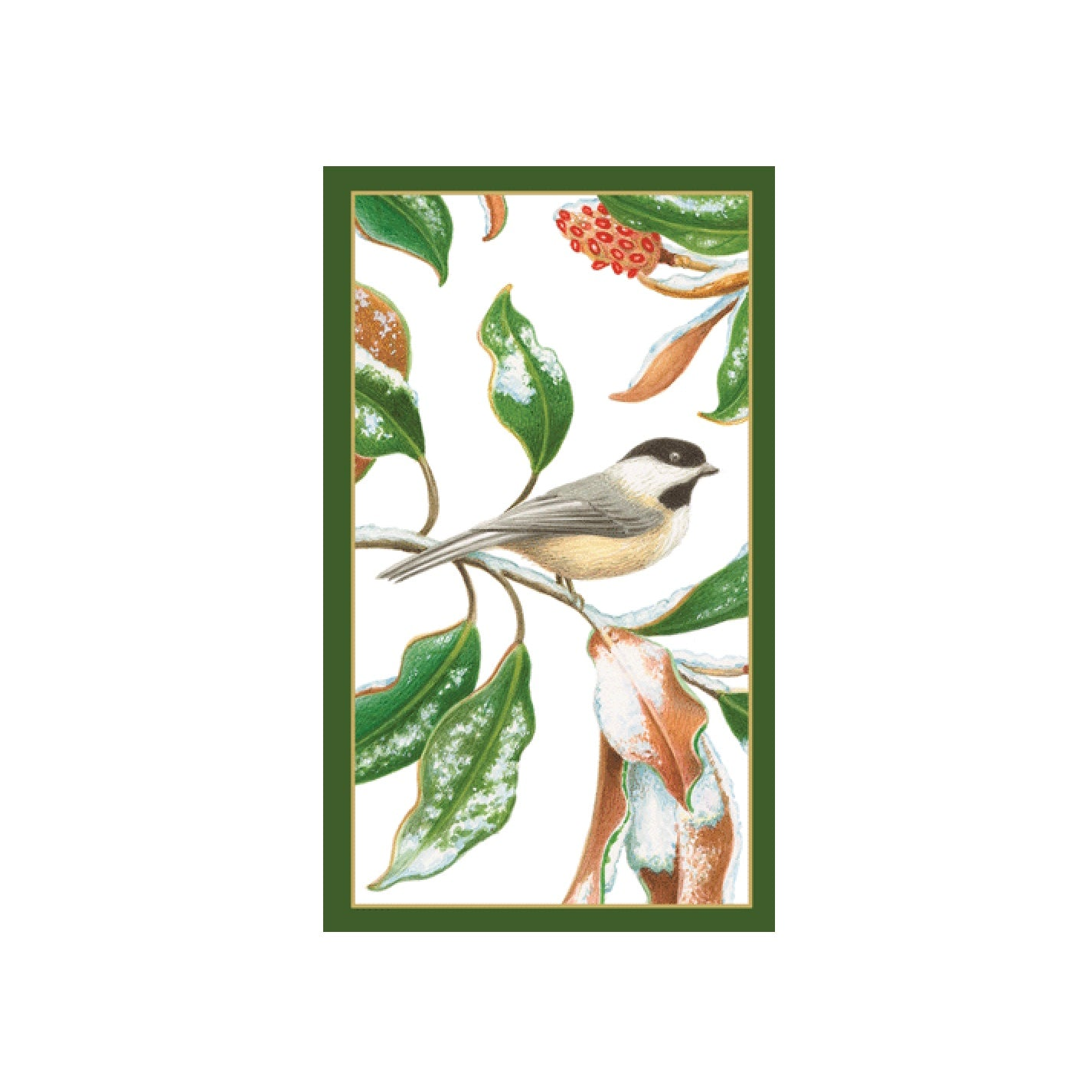 Caspari Chickadee And Magnolia Match Box | Putti Christmas