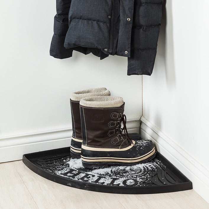 Corner Boot Tray with Hello | Putti Fine Furnishings