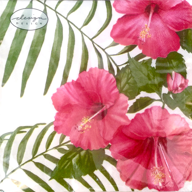 Tropical Hibiscus Luncheon Paper Napkins | Putti Celebrations