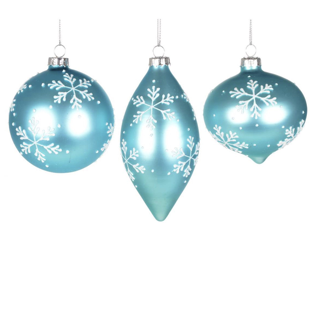 Aqua Ornament with Snowflakes-Christmas-CT-Christmas Tradition-Ball-Putti Fine Furnishings