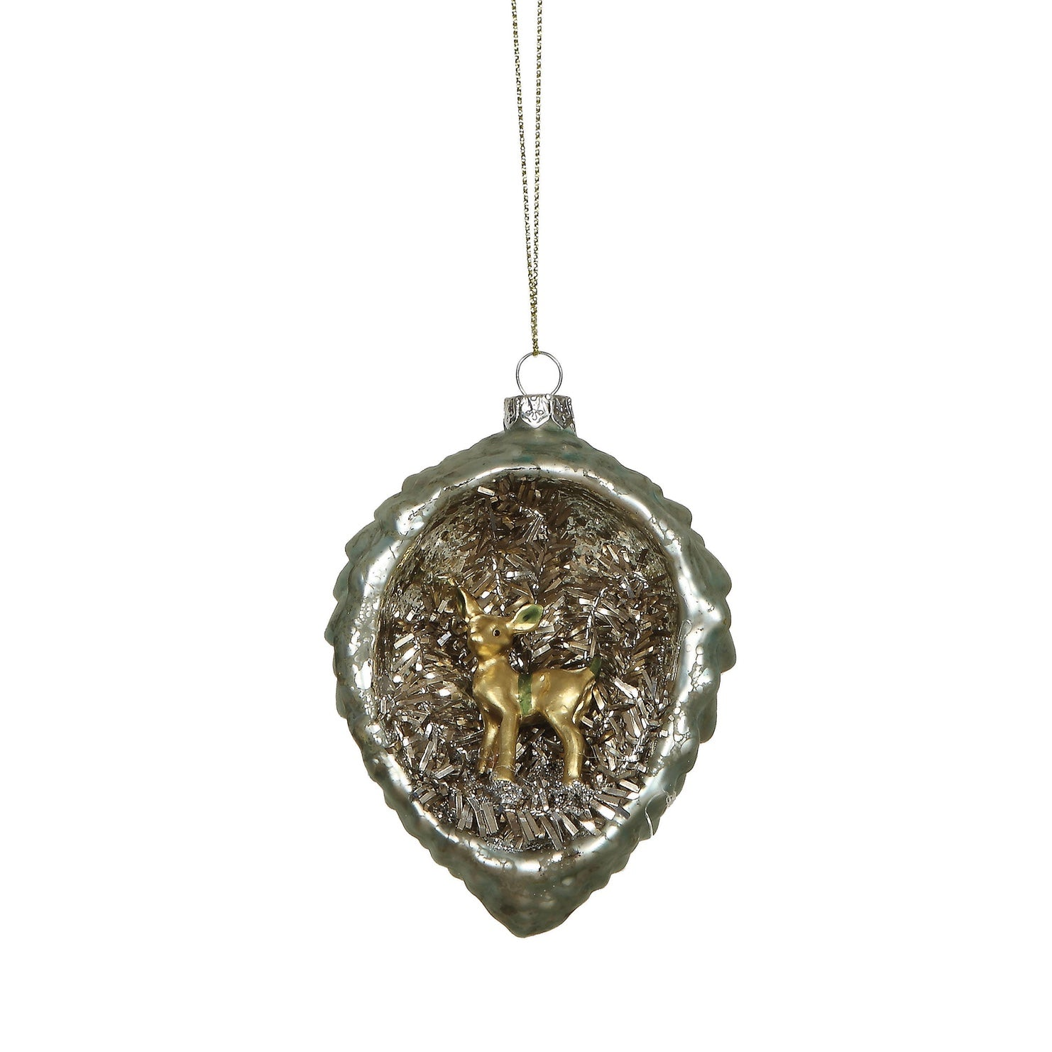 Glass Pine Cone with Bambi Interior Scene