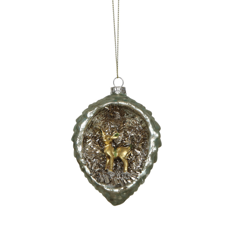 Glass Pine Cone with Bambi Interior Scene | Putti Christmas Canada