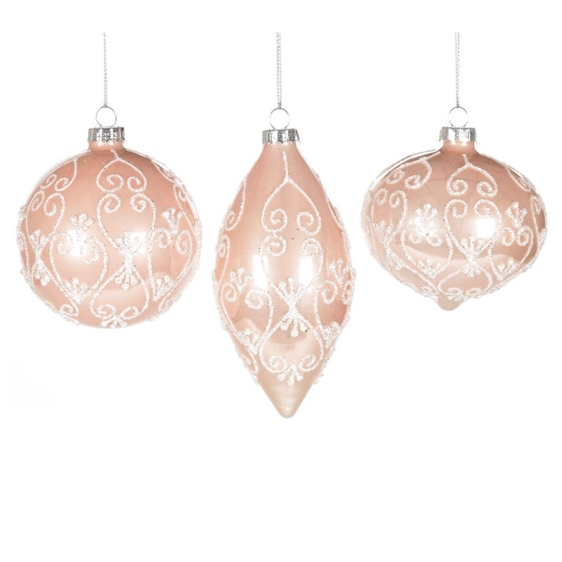 Blush Pink Ornament with Glitter, CT-Christmas Tradition, Putti Fine Furnishings