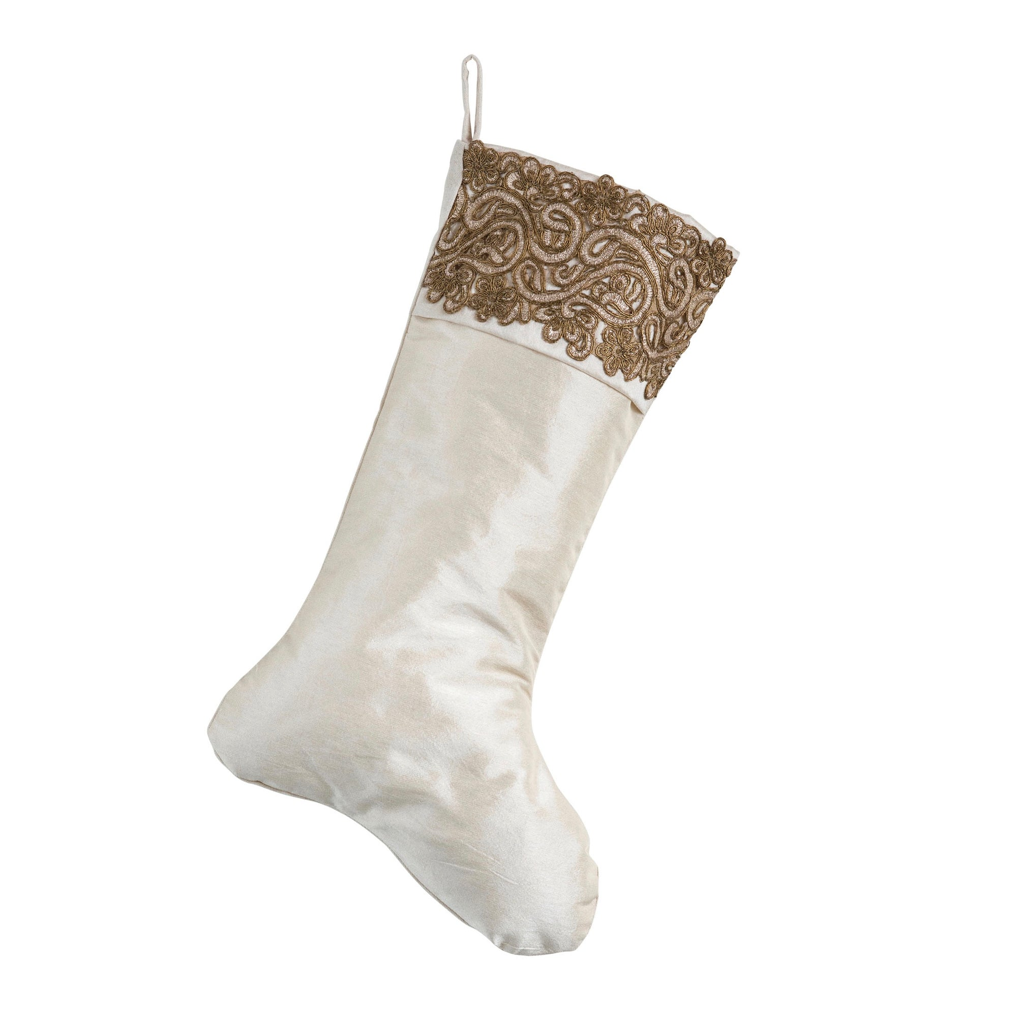Cream Stocking with Metallic Sari Cuff | Putti Christmas Celebrations