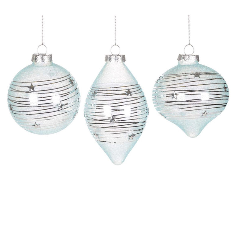 Pale Aqua Ornament with Silver Wrap, CT-Christmas Tradition, Putti Fine Furnishings
