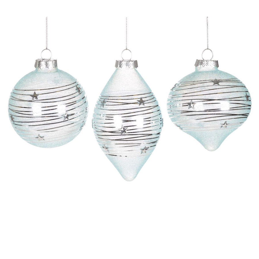 Pale Aqua Ornament with Silver Wrap