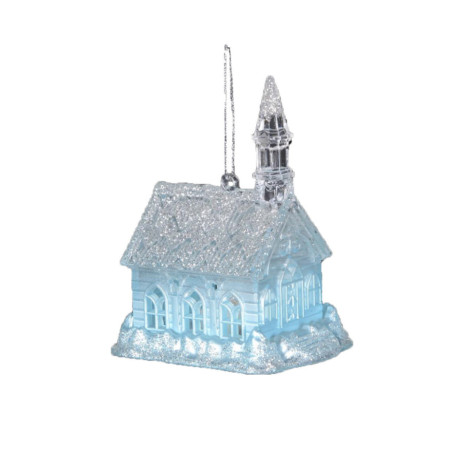 Glacier Blue Church Ornament with LED Light, CT-Christmas Tradition, Putti Fine Furnishings