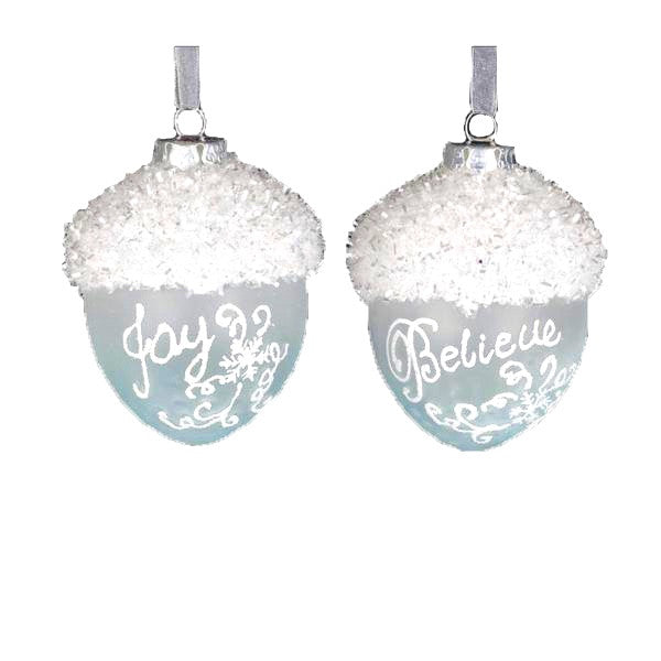 Glacier Blue Glass Acorn Ornament
