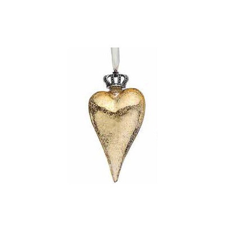 Crowned Gold Glass Heart Ornament  | Putti Celebrations