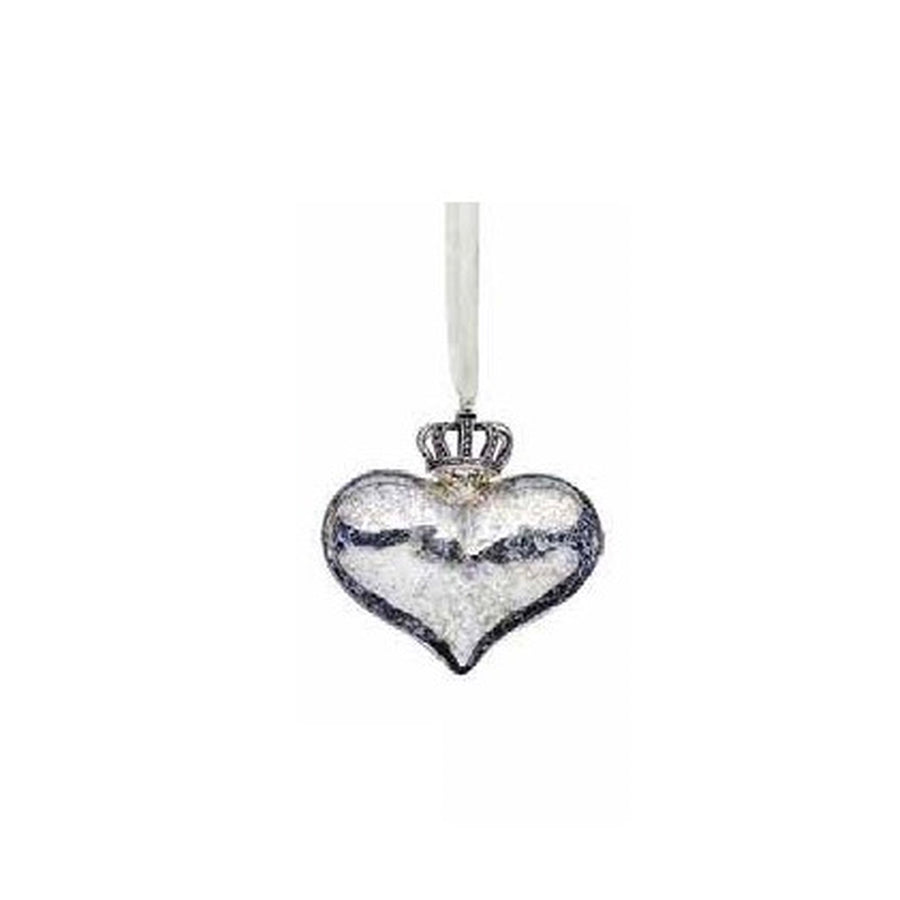 Crowned Silver Glass Heart Ornament