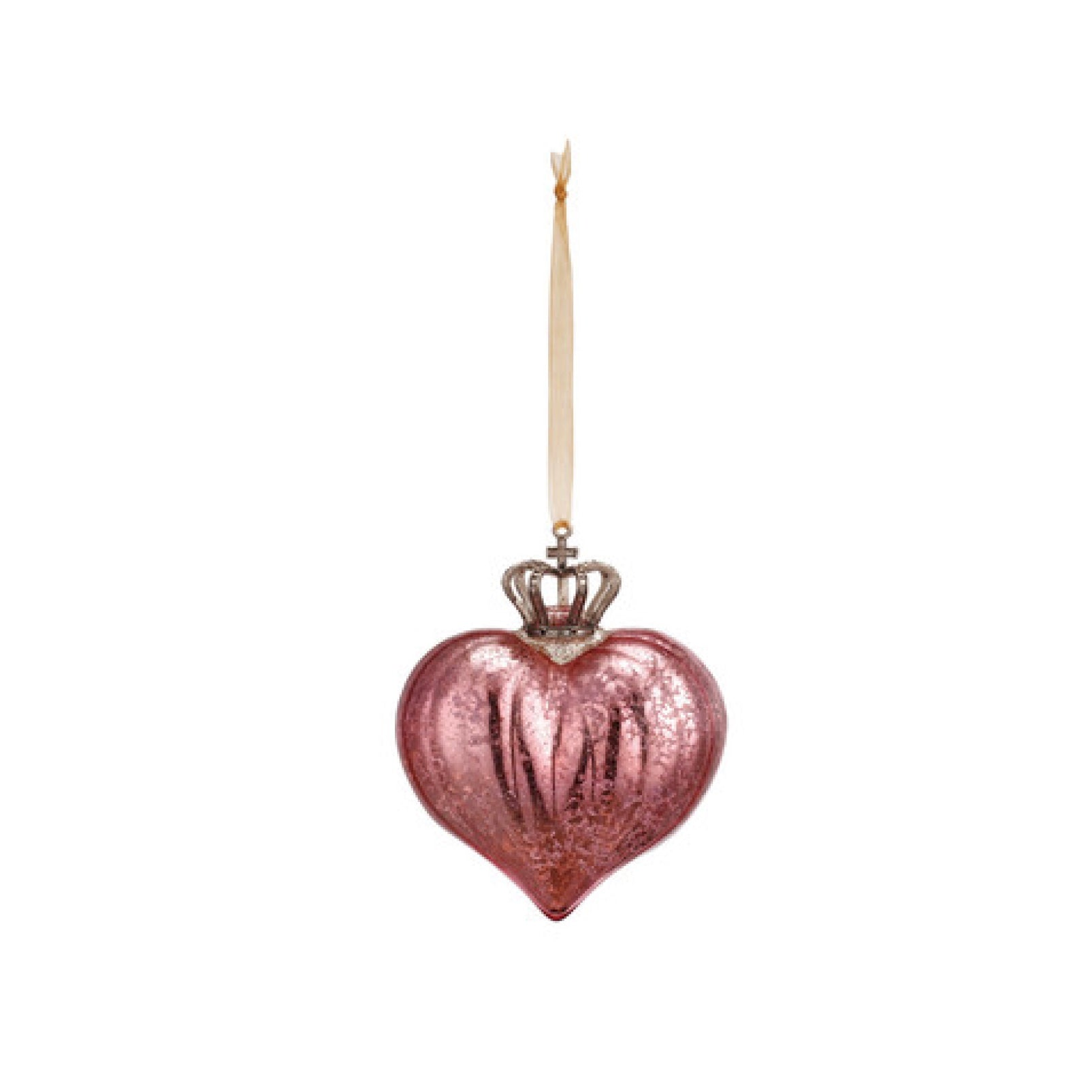 Crowned Rose Pink Glass Heart Ornament