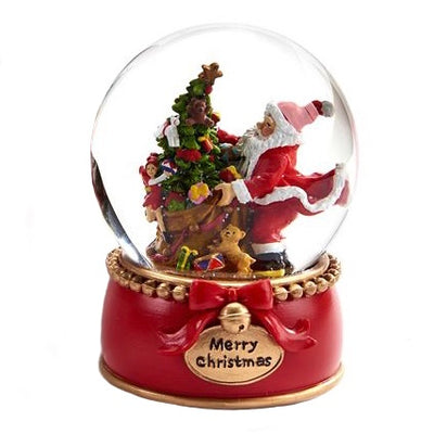 Santa with Christmas Tree Snow Globe | Putti Christmas Celebrations