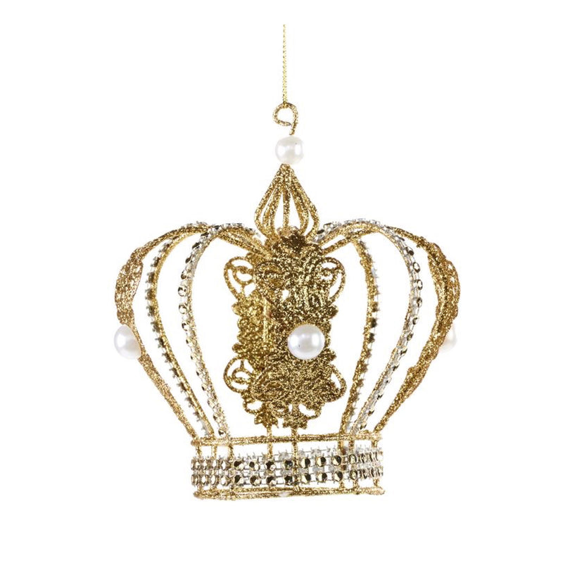 Gold Glittered Wire Crown Ornament