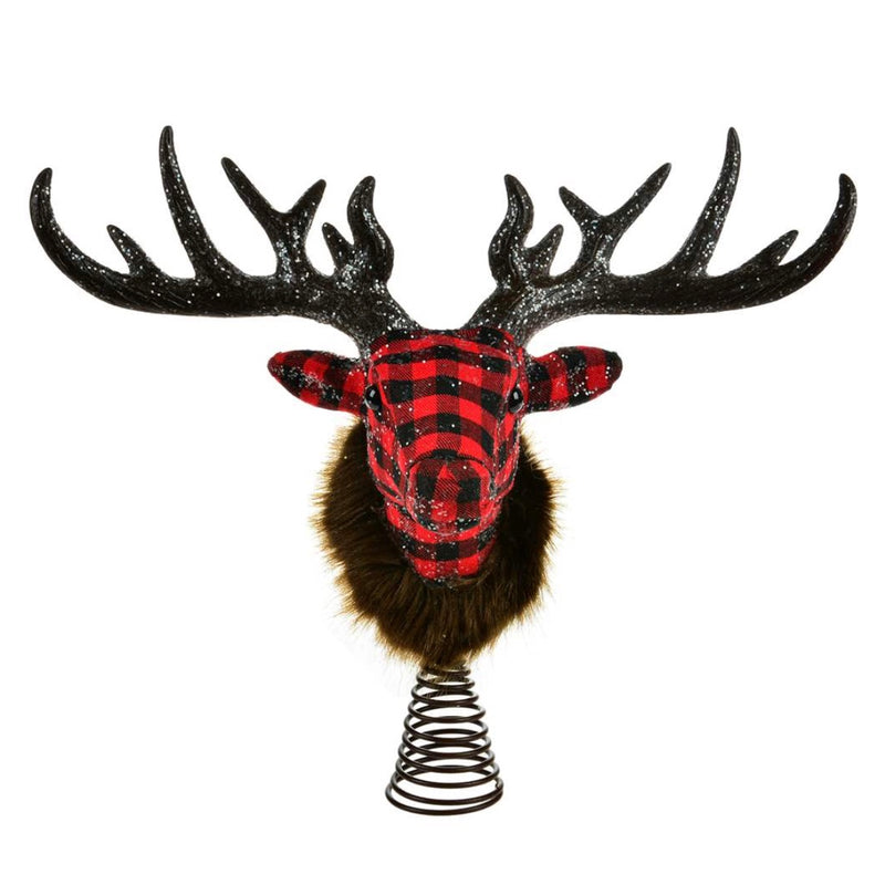 Buffalo Check Reindeer Head Tree Topper | Putti Christmas Canada