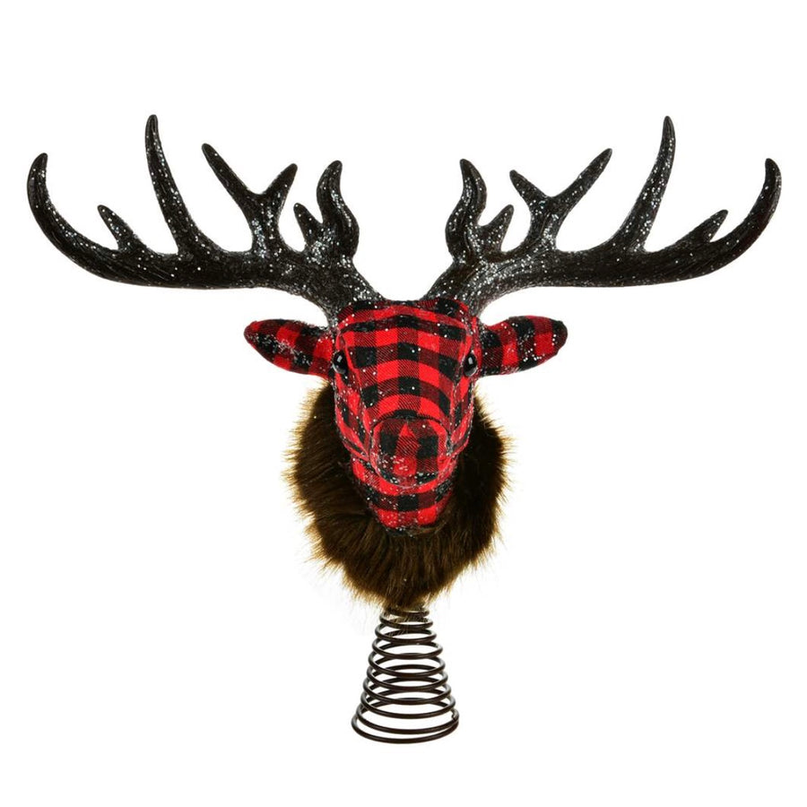 Buffalo Check Reindeer Head Tree Topper