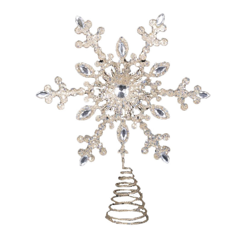 Champagne Gold Snowflake Christmas Tree Topper