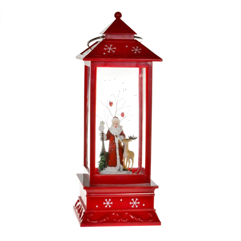 Santa with Reindeer Perpetual Snow Red Lantern with Light | Putti Christmas