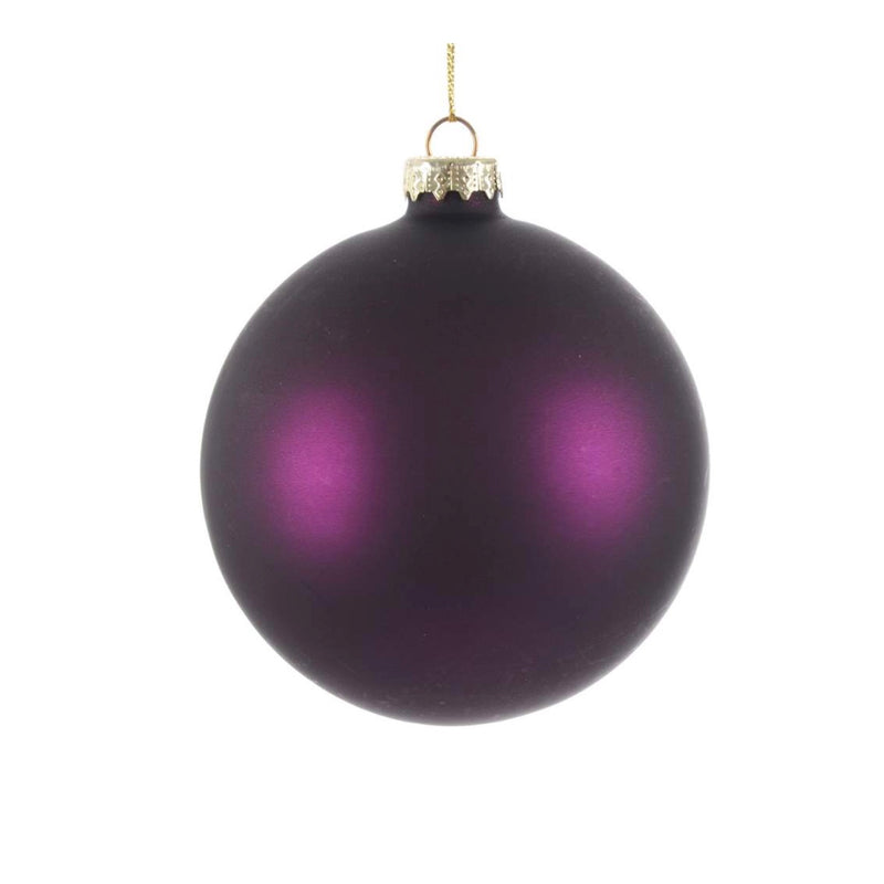 Aubergine Matte Satin Glass Ball 8cm | Putti Christmas Canada