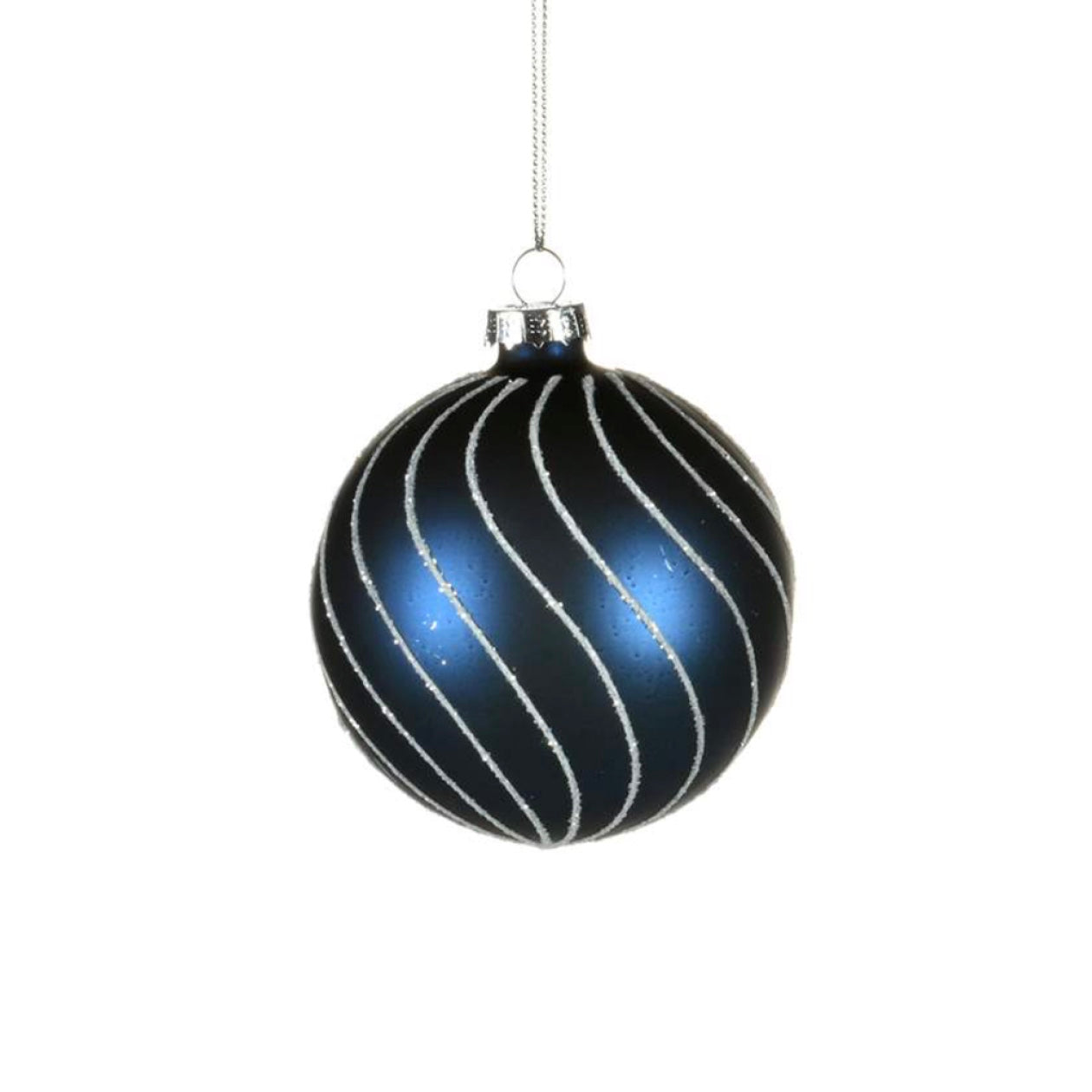 Navy Glass Ornament with Silver Glitter Swirls - Ball