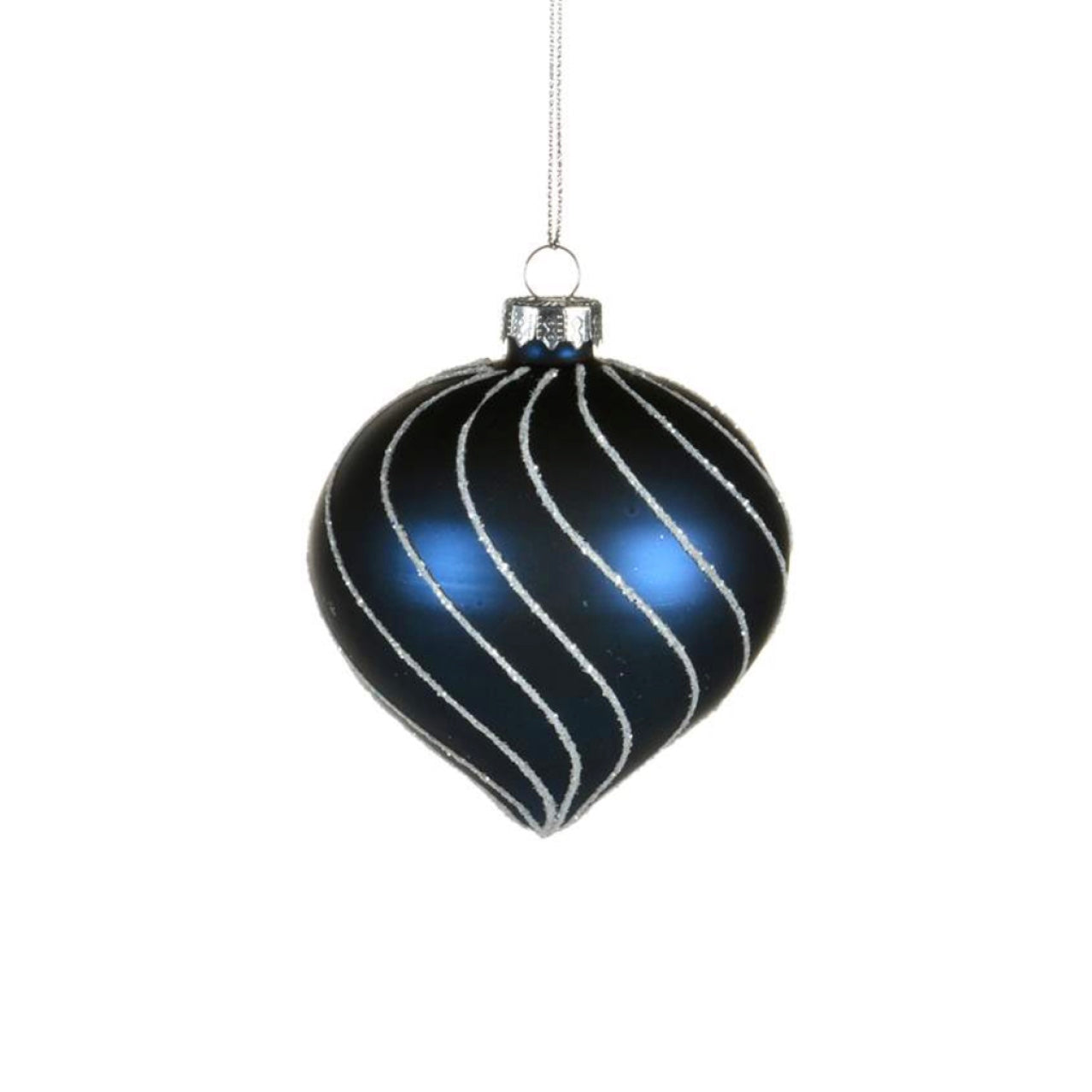 Navy Glass Ornament with Silver Glitter Swirls - Onion