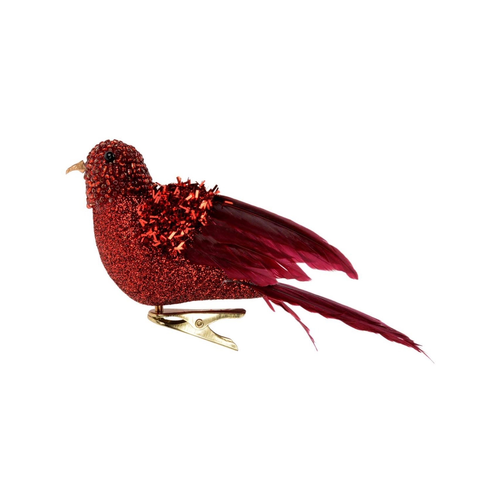 Small Red Glitter Feather Bird | Putti Christmas Canada