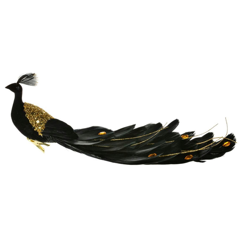 Black and Gold Feather Peacock with Clip | Putti Christmas Celebrations