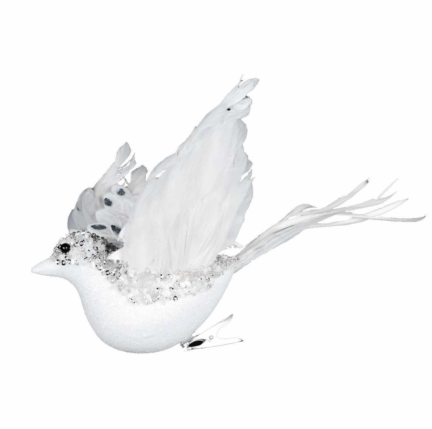 White Flying Beaded Bird with Gems | Putti Christmas Celebrations Canada