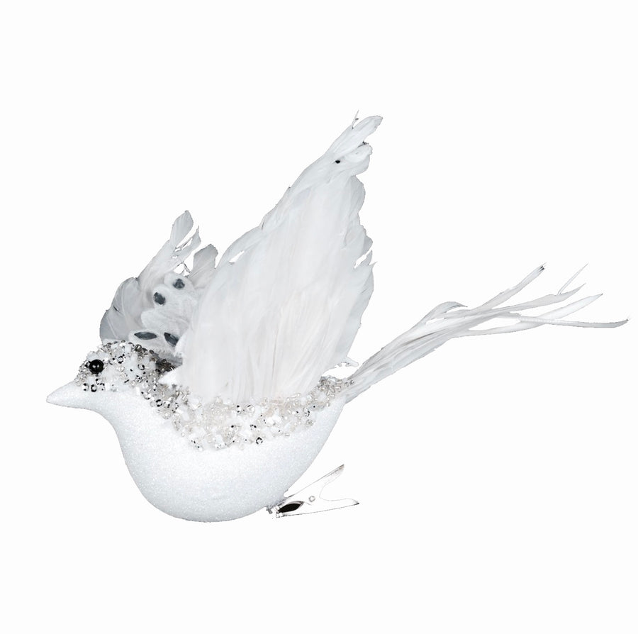 White Flying Beaded Bird with Gems
