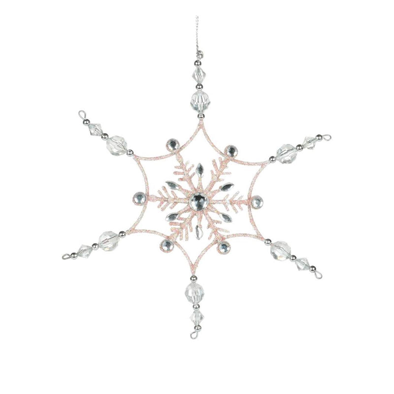 Pink Snowflake with Clear Gem Points | Putti Christmas Canada