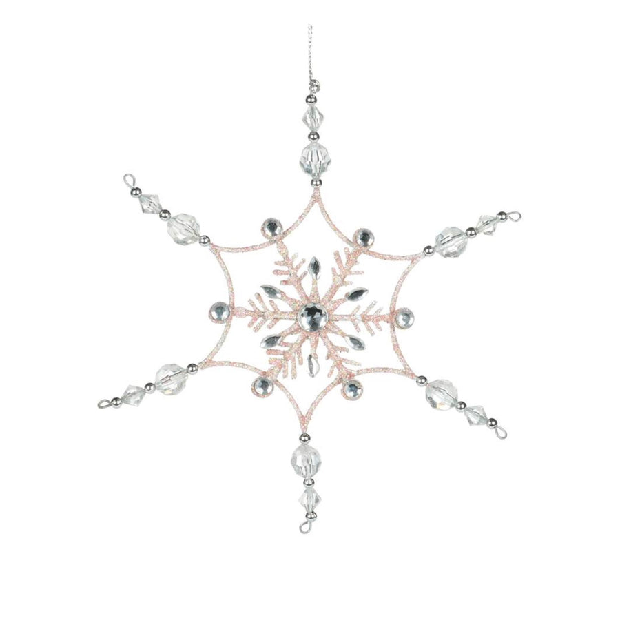 Pink Snowflake with Clear Gem Points