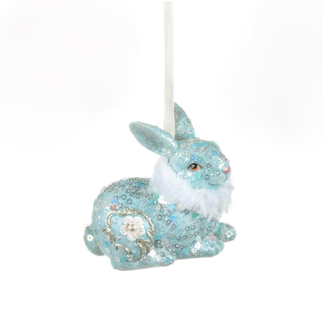 Blue Bunny With Fur Collar Ornament | Putti Celebrations