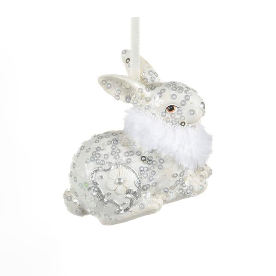 White Bunny With Fur Collar Ornament | Putti Celebrations
