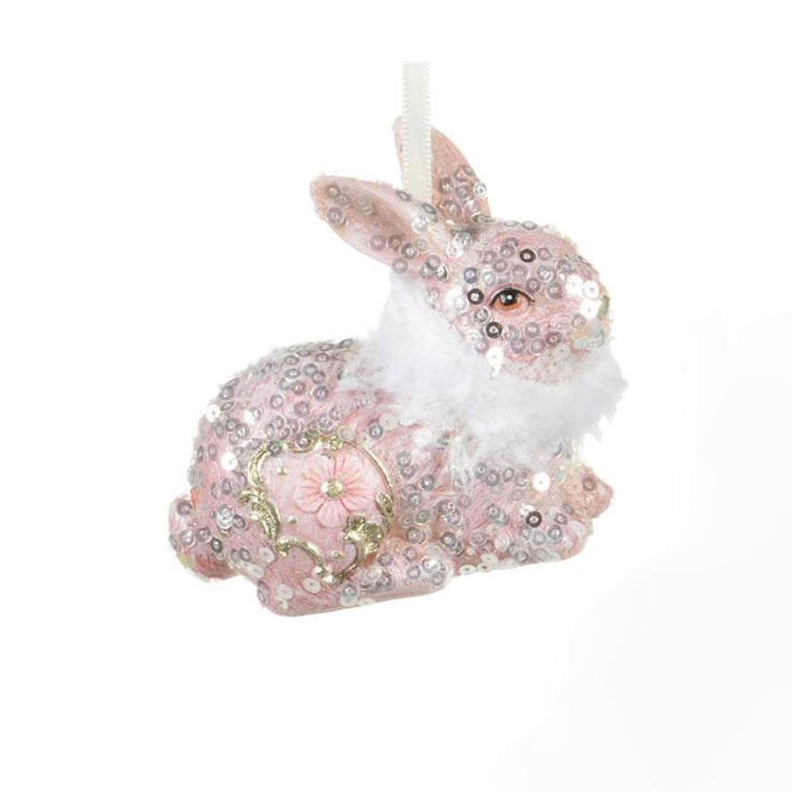 Pink Bunny With Fur Collar Ornament | Putti Christmas Celebrations