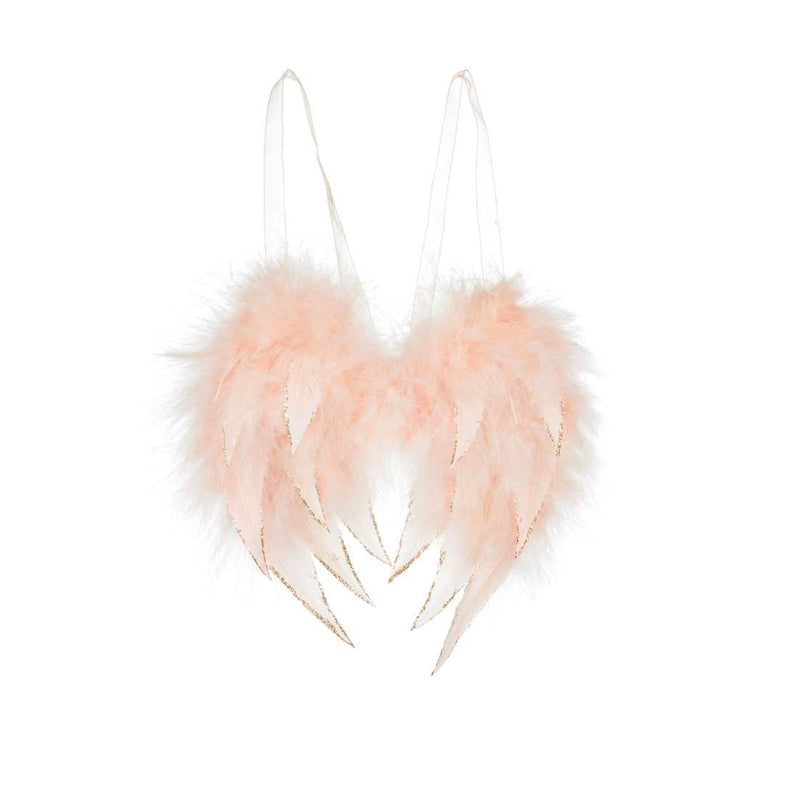 Blush Pink Feather Angel Wing Ornament | Putti Christmas