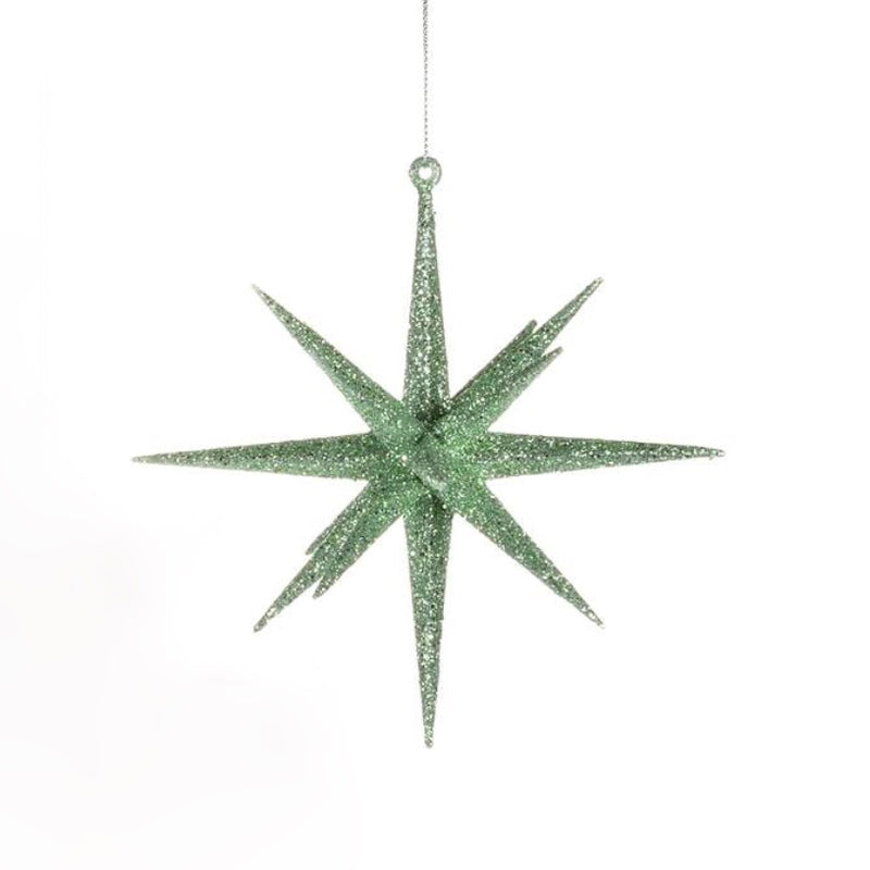 Mint Green Glitter Starburst Ornament | Putti Christmas Celebrations