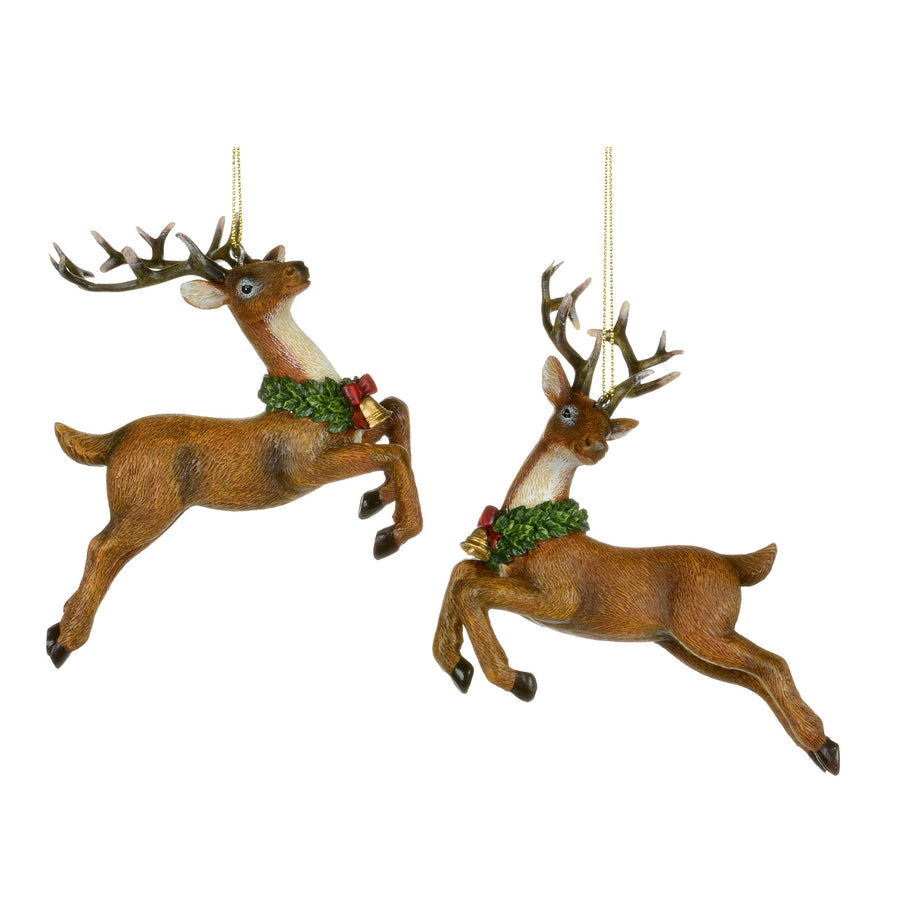 Leaping Reindeer with Wreath Ornament