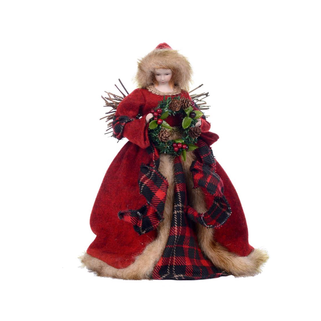 Red Plaid Wood Angel Tree Topper | Putti Christmas Celebrations