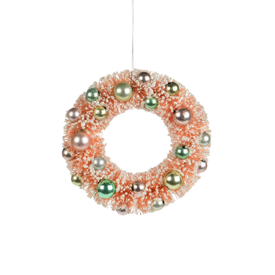 Blush Pink Brush Wreath Ornament