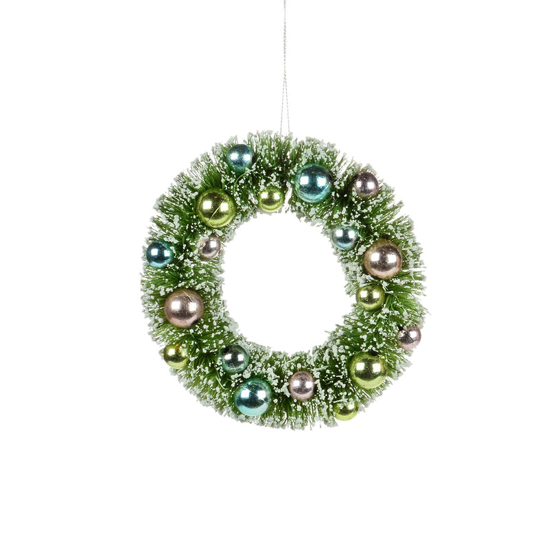 Mint Green Brush Wreath Ornament / Candle Ring | Putti Christmas
