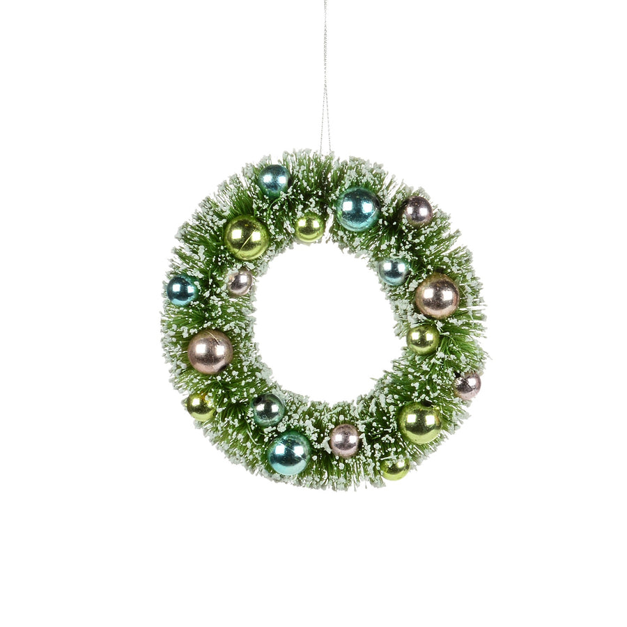 Mint Green Brush Wreath Ornament