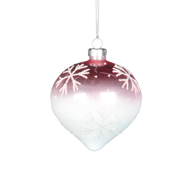 Pink Ombre Glass Ornament with Snowflakes - Onion