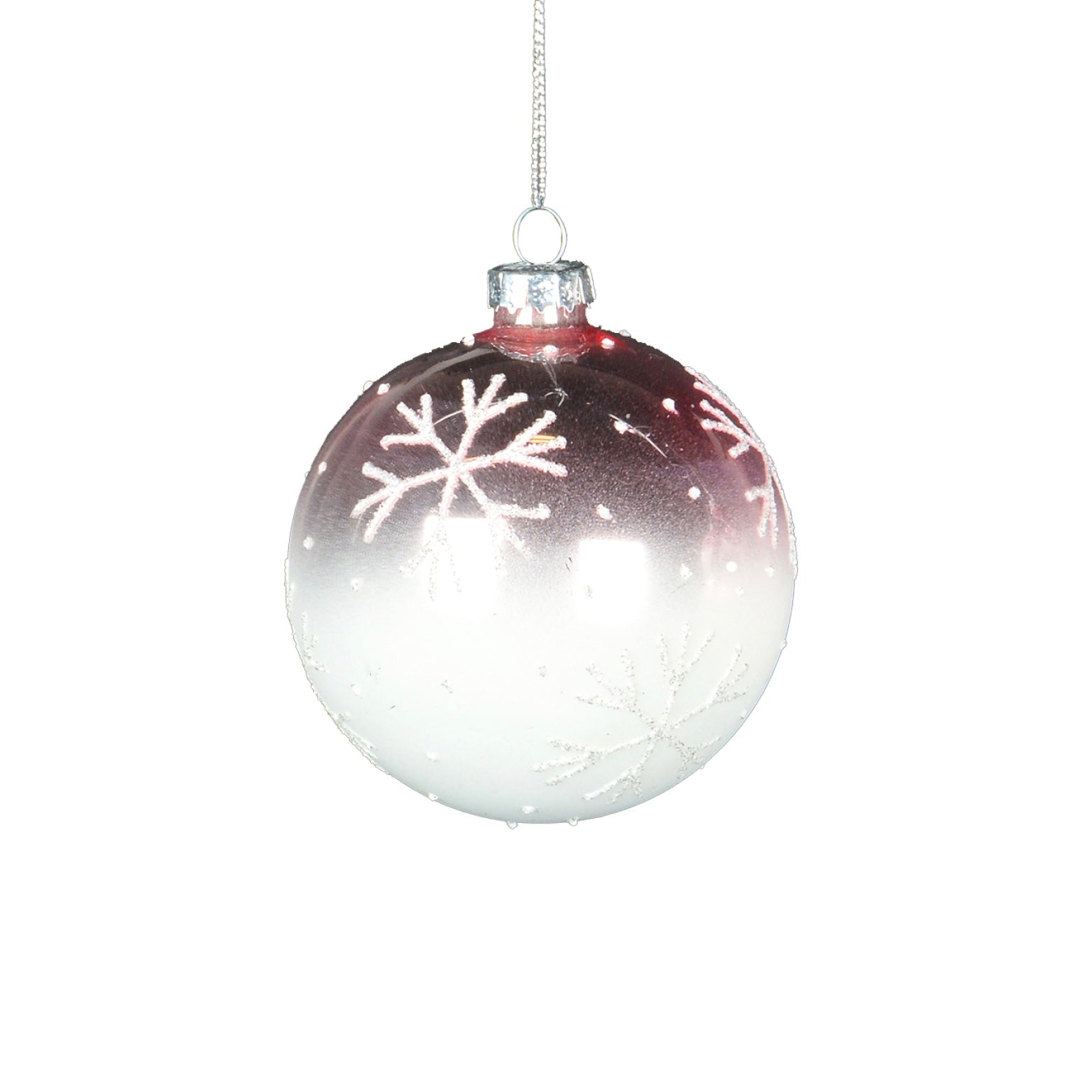 Pink Ombre Glass Ornament with Snowflakes - Ball  | Putti Christmas Canada