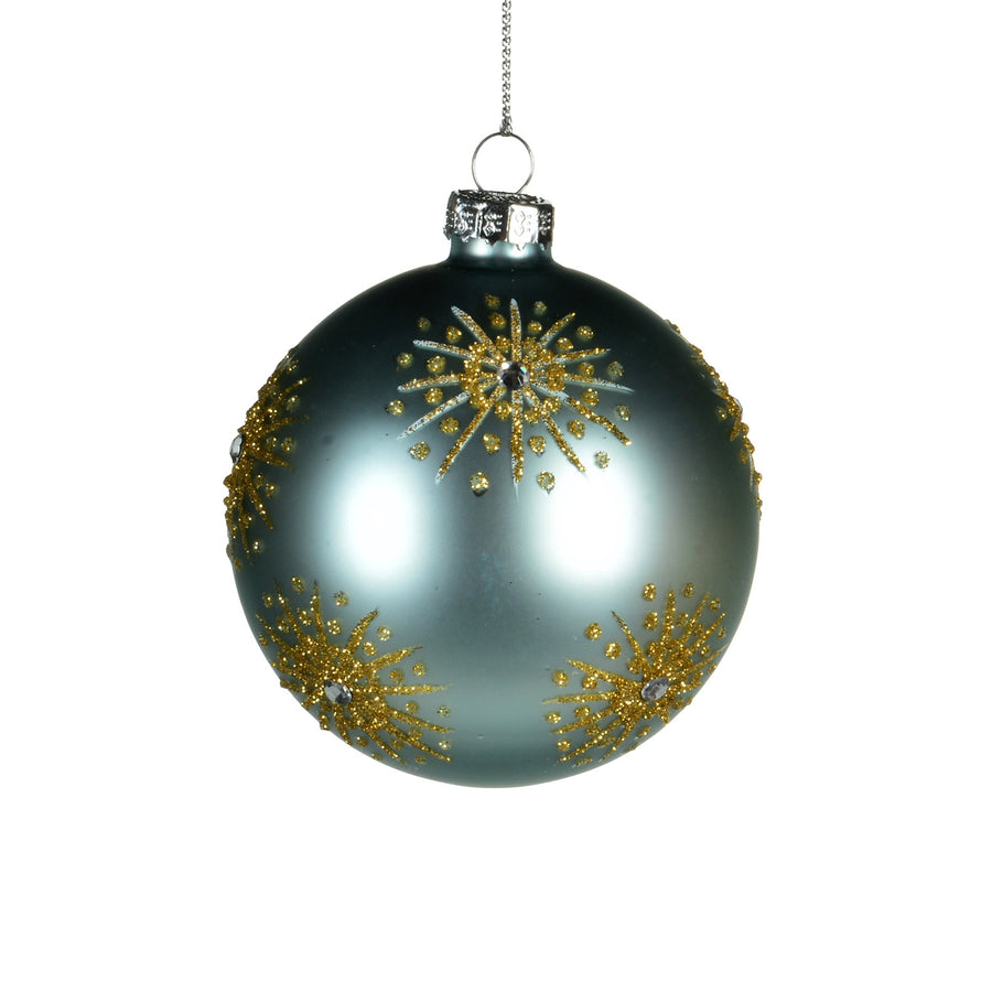 Aqua Glass Ornament with Gold Glitter Starbursts