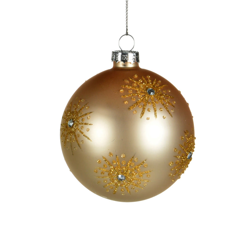 Gold Glass Ornament with Gold Glitter Starbursts