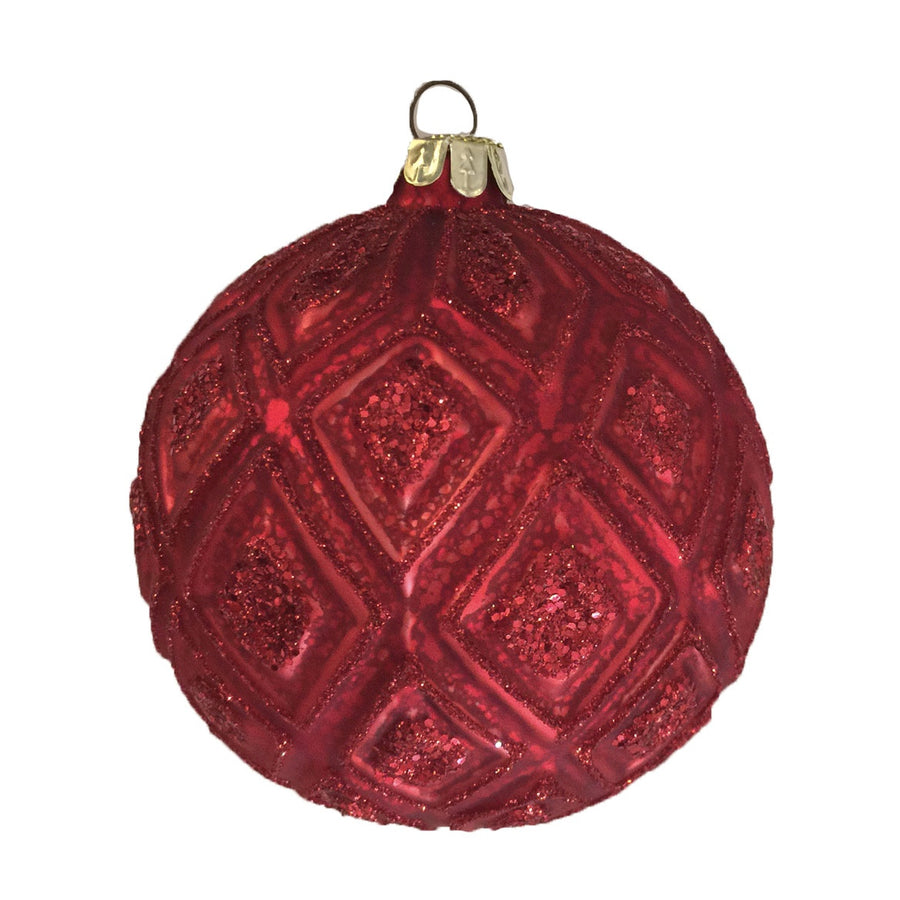 Moulded Red Glitter Glass Ball