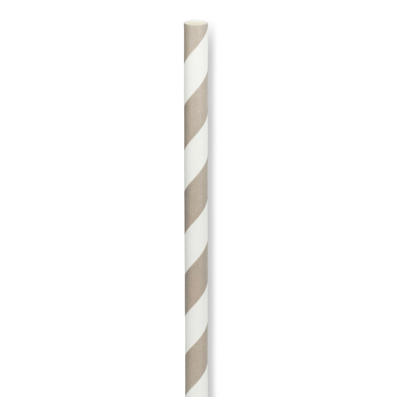 Straws with Grey & White Stripes - Box of 100