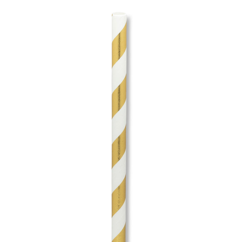 Straws with Gold & White Stripes - Box of 100 | Putti Party Supplies