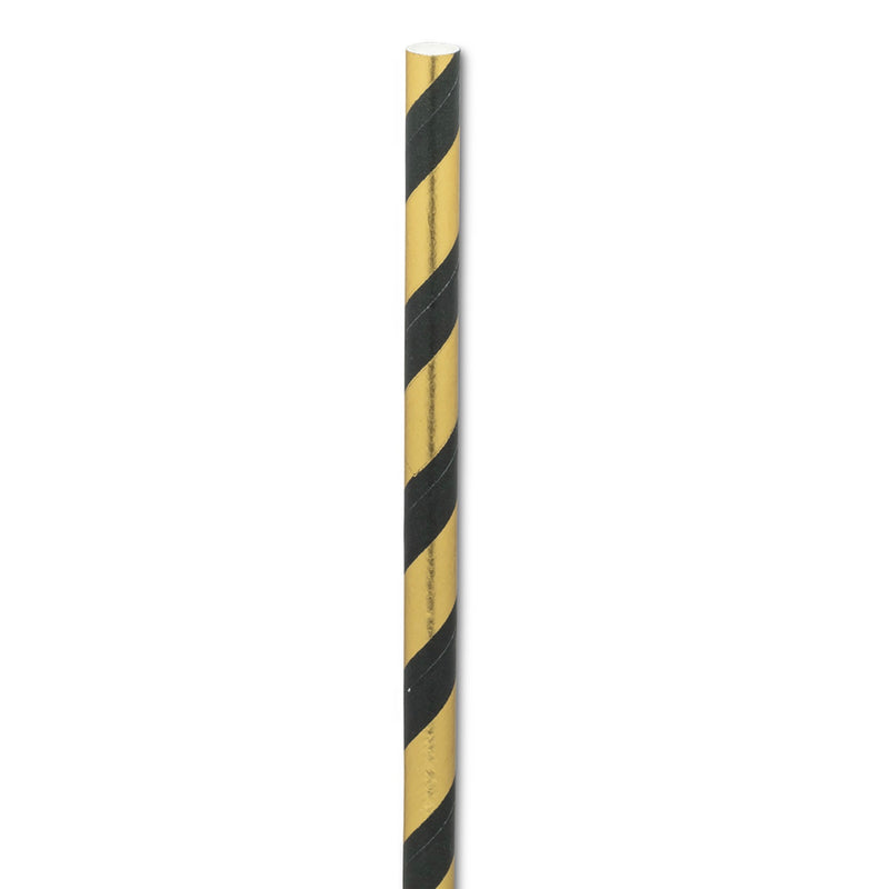 Straws with Black & Gold Stripes - Box of 100